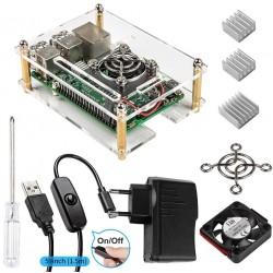 Case pert Raspberry Pi 3 + Dissipatori 3 Pezzi + Alimentatore da 5V/2.5A + Ventola + USB Cavo con interuttore On Off