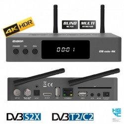 Edision OS Mio 4K UHD Combo DVB-S2X + DVB-T2/C H.265 HEVC Multistream Enigma 2 Wi-Fi Dual-Band GRIGIO