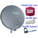 KIT Parab. Fuba 85cm Allum + 6 LNB + 1 EMP 8 in + 5 supporti